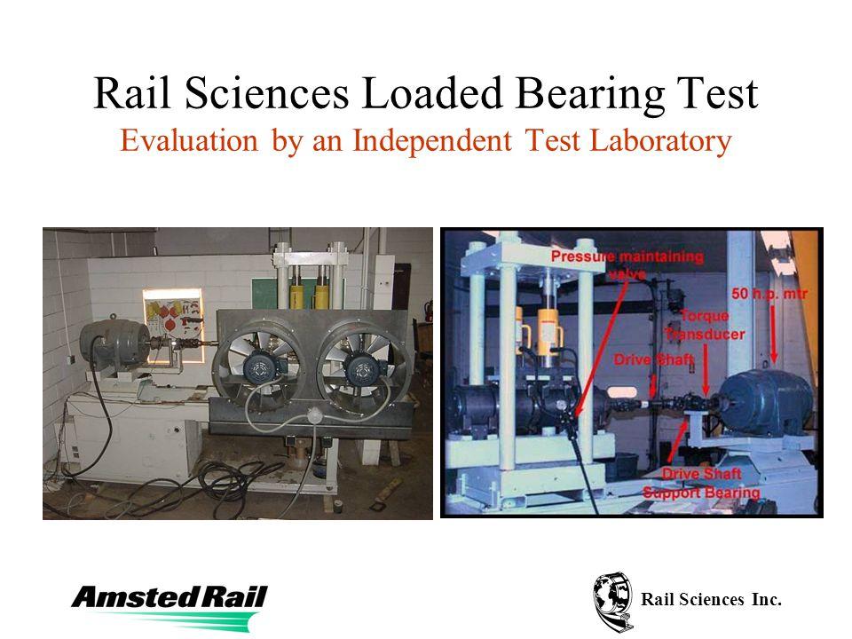 Rail Sciences Inc.Test Procedure Test at three loads.