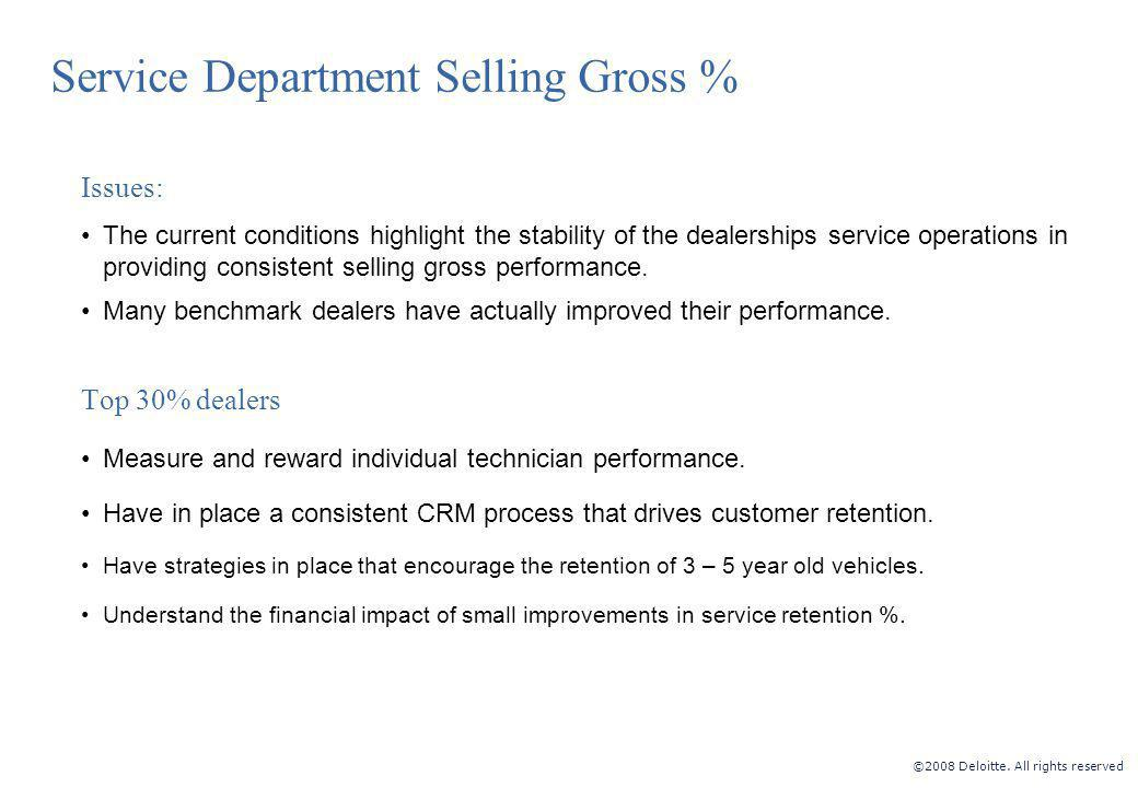 ©2008 Deloitte. All rights reserved Service Department Selling Gross % Issues: The current conditions highlight the stability of the dealerships servi