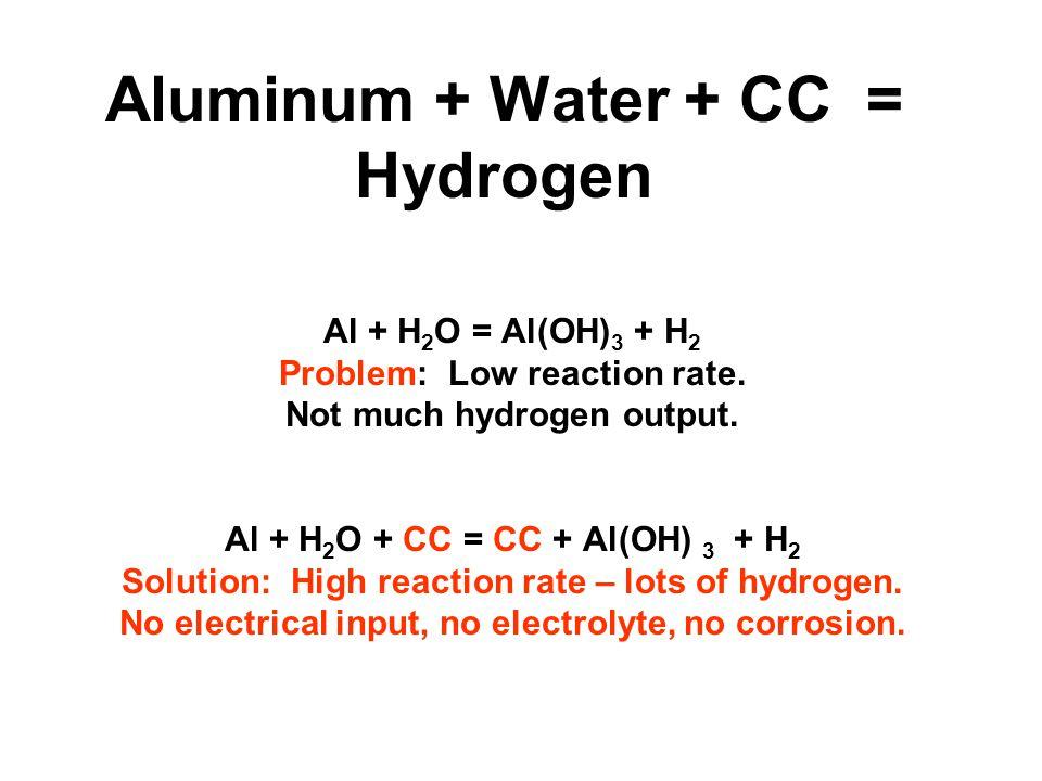 Aluminum + Water + CC = Hydrogen Al + H 2 O = Al(OH) 3 + H 2 Problem: Low reaction rate.