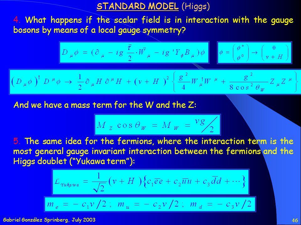 Gabriel González Sprinberg, July 2003 46 STANDARD MODEL STANDARD MODEL (Higgs) 4.
