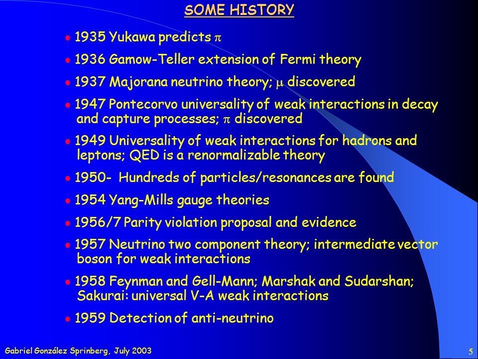 Gabriel González Sprinberg, July 2003 6 SOME HISTORY 1961 SSB; Glashow neutral boson 1964 Gell-Mann/Zweig quark model; proposal of charm; CP violation in K 0 mesons decays; Higgs mechanism; color QN 1967 Weinberg EW model 1970 GIM lepton-quark symmetry and charmed quarks (FCNC) 1971 Renormalization of SSB gauge theories 1973 Kobayashi-Maskawa CP model; evidence of the predicted neutral current; Gross, Wilczek, Politzer asymtotic freedom; Fritzsch, Gell-Mann, Leutwyler QCD 1974-5 SLAC J/, 1977 Fermilab 1979 Gluon jets 1983 Charged W and neutral Z bosons 1995 Top quark 1998-9 Neutrino oscillations @ SuperKamiokande
