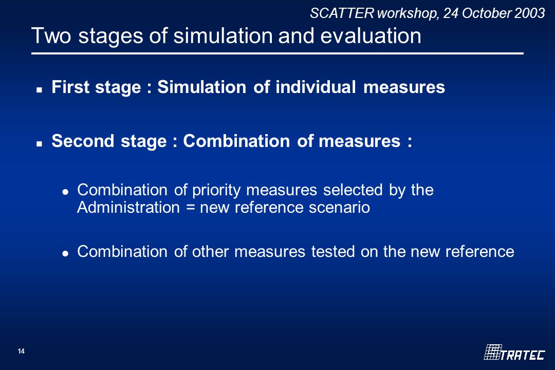 SCATTER workshop, 24 October 2003 14 Two stages of simulation and evaluation First stage : Simulation of individual measures Second stage : Combination of measures : Combination of priority measures selected by the Administration = new reference scenario Combination of other measures tested on the new reference