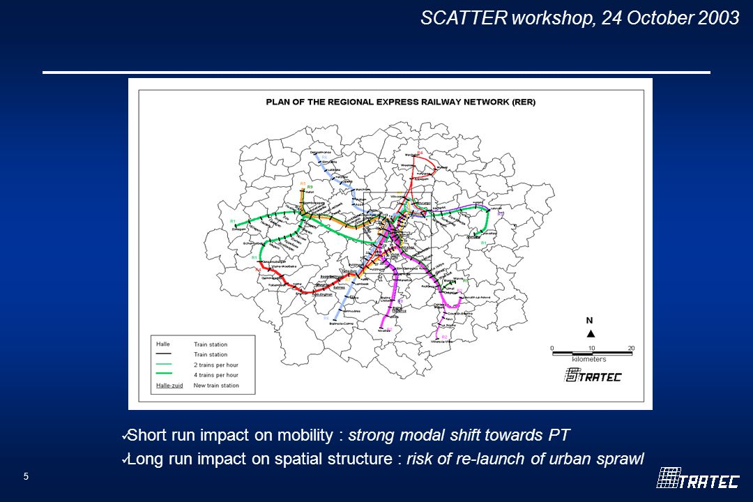 SCATTER workshop, 24 October Short run impact on mobility : strong modal shift towards PT Long run impact on spatial structure : risk of re-launch of urban sprawl