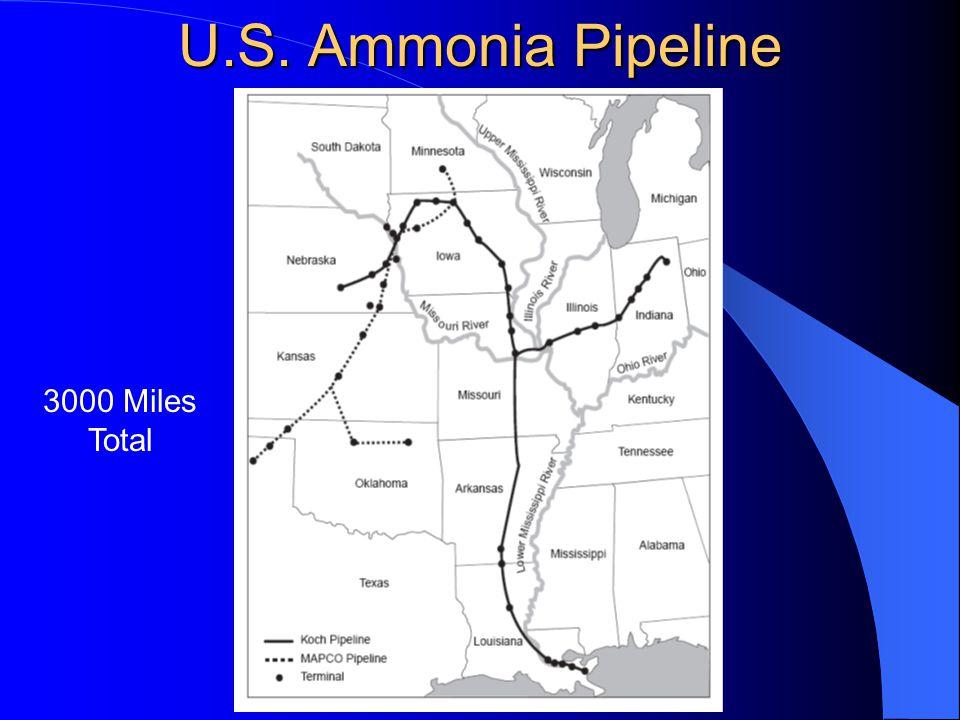 U.S. Ammonia Pipeline 3000 Miles Total