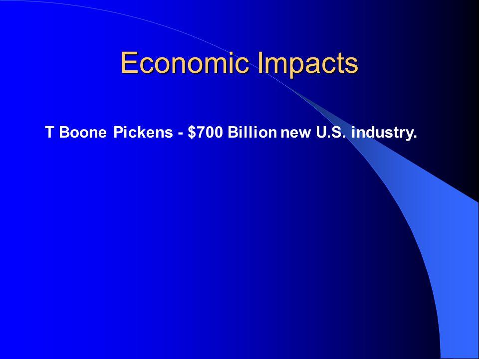 Economic Impacts T Boone Pickens - $700 Billion new U.S. industry.