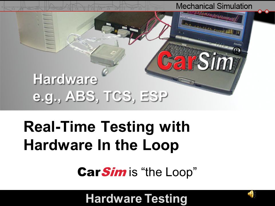 slide 24 Real-Time Testing with Hardware In the Loop CarSim is the Loop Hardware Testing