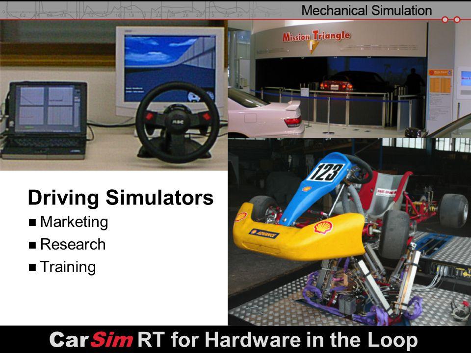 slide 26 Driving Simulators Marketing Research Training CarSim RT for Hardware in the Loop
