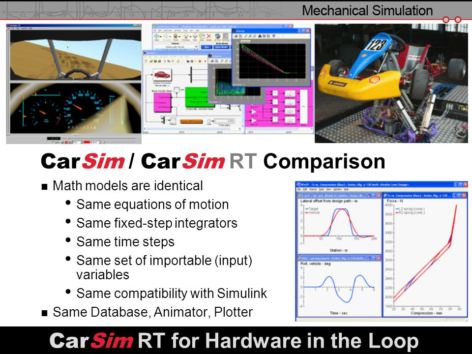 slide 27 CarSim / CarSim RT Comparison Math models are identical Same equations of motion Same fixed-step integrators Same time steps Same set of impo