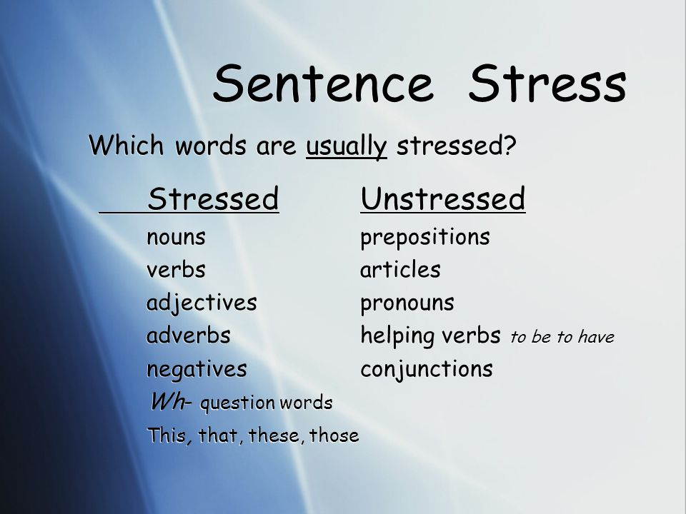 Which parts of speech are usually stressed.Write them in the correct column on your handout.