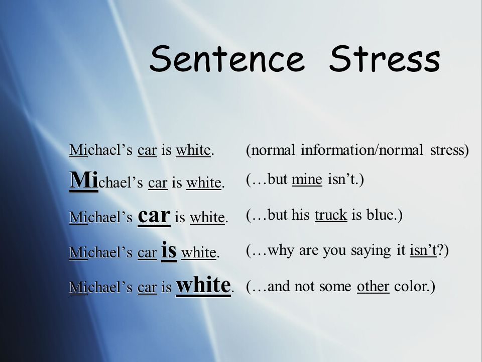 Sentence Stress RULES CONTINUED: 1.Stress information words.