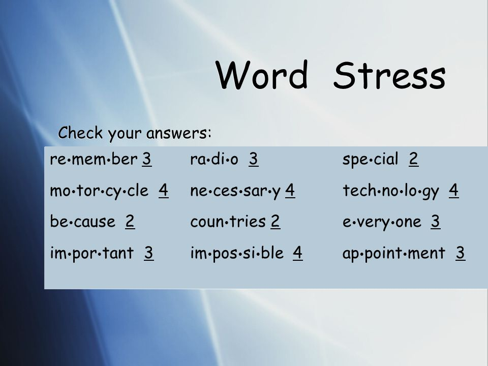 Word Stress How many syllables. = How many vowel sounds.