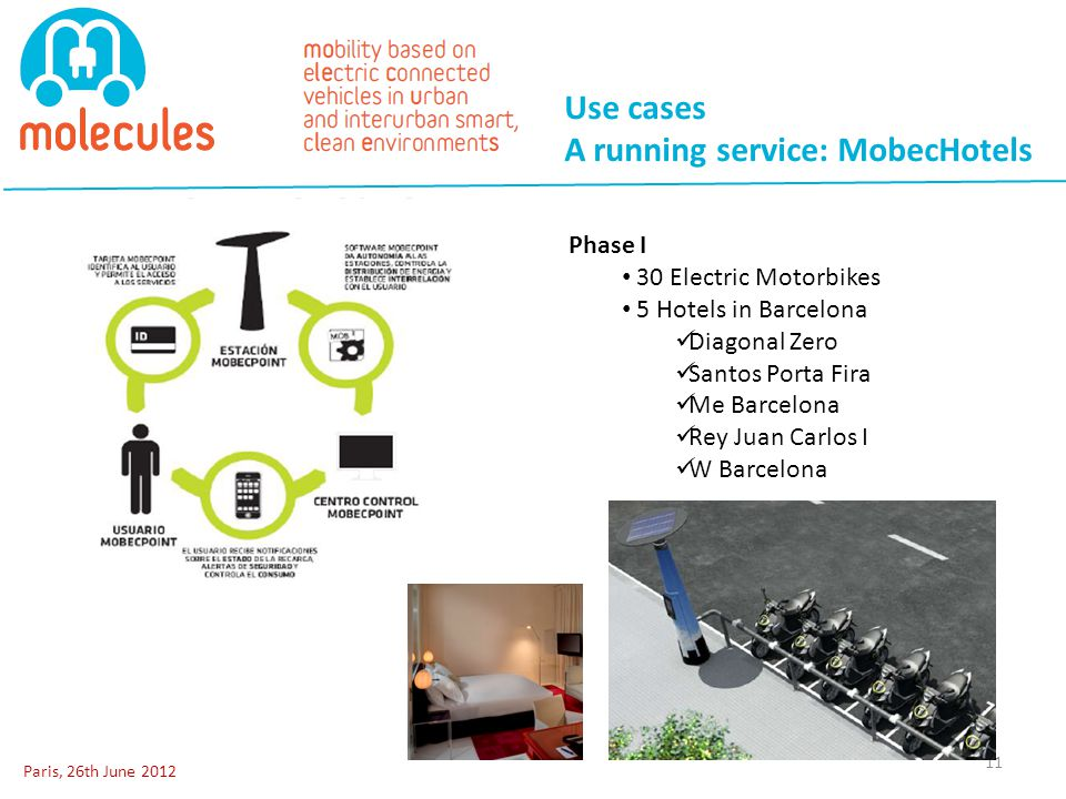 Use cases A running service: MobecHotels Paris, 26th June 2012 11 Phase I 30 Electric Motorbikes 5 Hotels in Barcelona Diagonal Zero Santos Porta Fira