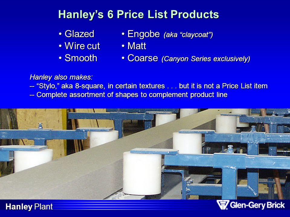 Hanleys 6 Price List Products Engobe (aka claycoat) Engobe (aka claycoat) Matt Matt Coarse (Canyon Series exclusively) Coarse (Canyon Series exclusive