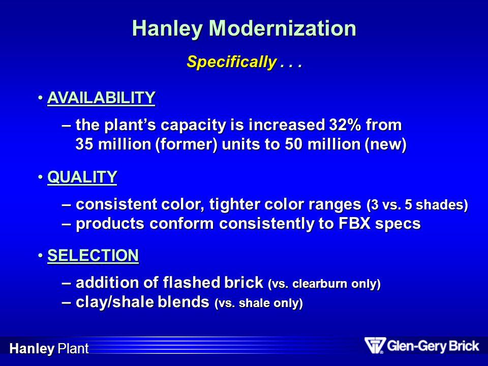Hanley Modernization $18 million upgrade began in Nov.