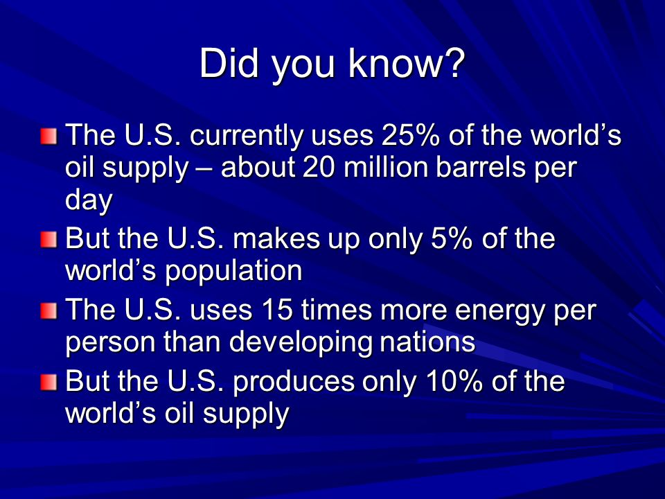 Did you know. The U.S.