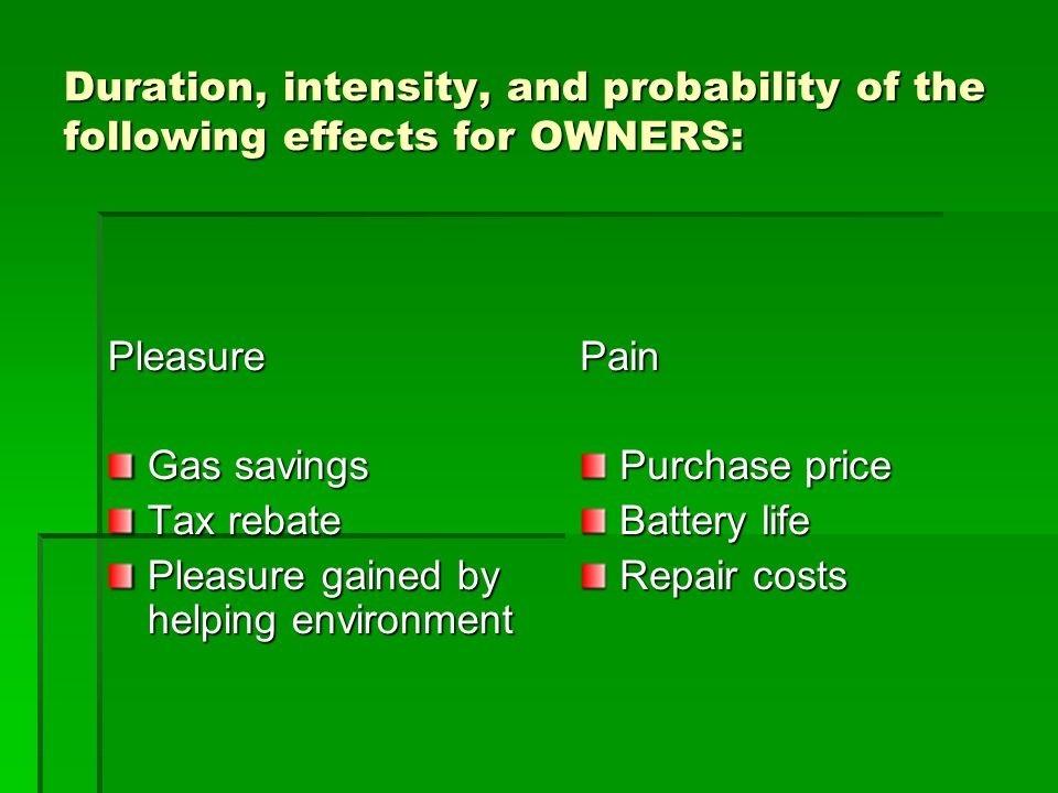 Duration, intensity, and probability of the following effects for OWNERS: Pleasure Gas savings Tax rebate Pleasure gained by helping environment Pain
