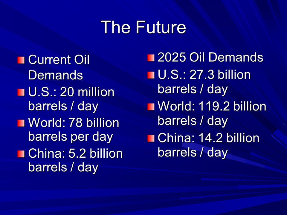 The Future Current Oil Demands U.S.: 20 million barrels / day World: 78 billion barrels per day China: 5.2 billion barrels / day 2025 Oil Demands U.S.: 27.3 billion barrels / day World: 119.2 billion barrels / day China: 14.2 billion barrels / day
