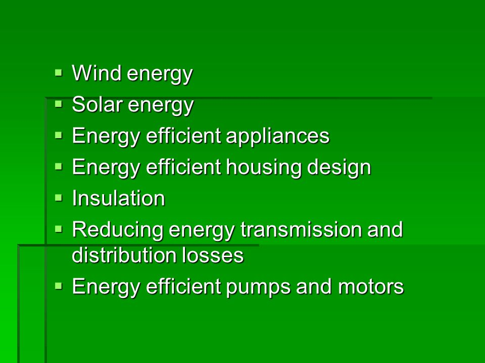 Wind energy Wind energy Solar energy Solar energy Energy efficient appliances Energy efficient appliances Energy efficient housing design Energy efficient housing design Insulation Insulation Reducing energy transmission and distribution losses Reducing energy transmission and distribution losses Energy efficient pumps and motors Energy efficient pumps and motors