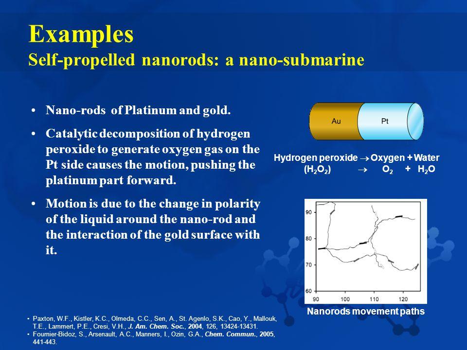 Examples Self-propelled nanorods: a nano-submarine Nano-rods of Platinum and gold.