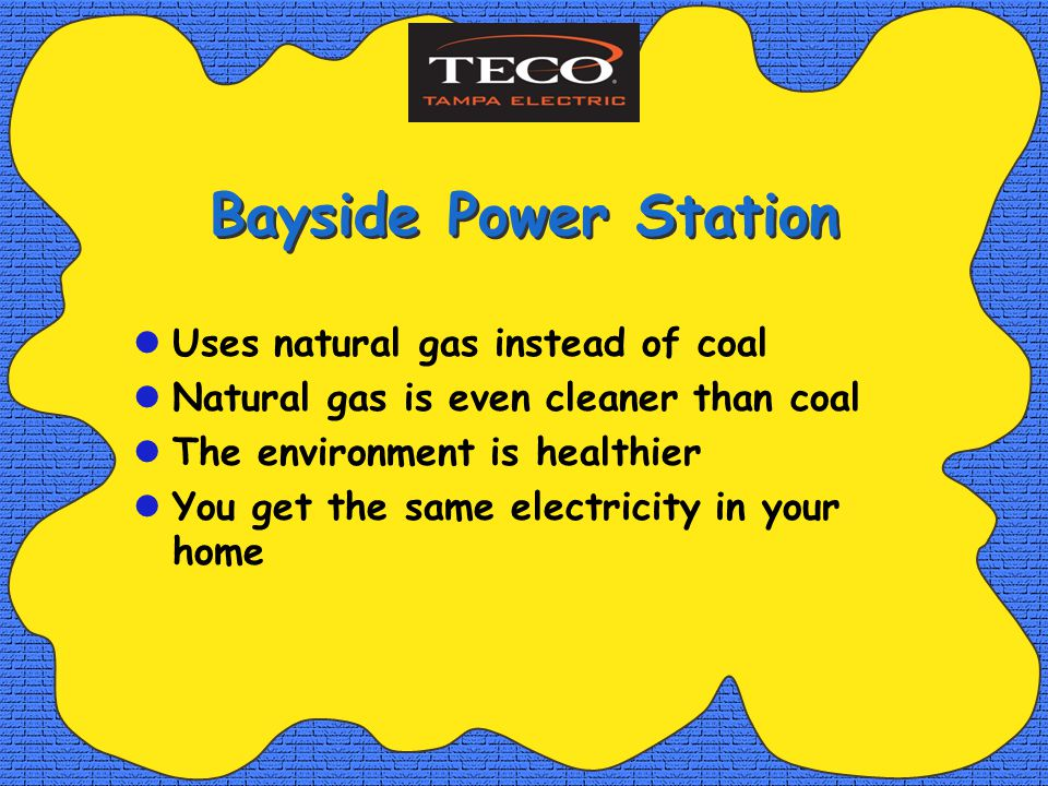 Bayside Power Station Uses natural gas instead of coal Natural gas is even cleaner than coal The environment is healthier You get the same electricity in your home