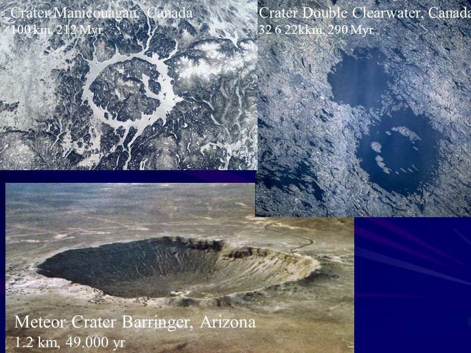 Meteor Crater Barringer, Arizona 1.2 km, 49.000 yr Crater Double Clearwater, Canada 32 6 22kkm, 290 Myr Crater Manicouagan, Canada 100 km, 212 Myr