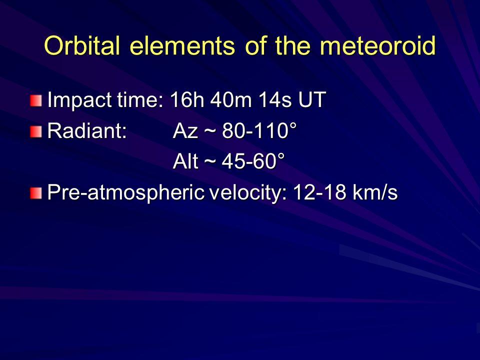 Orbital elements of the meteoroid Impact time: 16h 40m 14s UT Radiant: Az ~ 80-110° Alt ~ 45-60° Pre-atmospheric velocity: 12-18 km/s