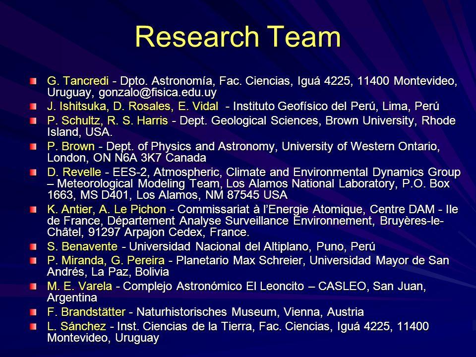 Research Team G. Tancredi - Dpto. Astronomía, Fac. Ciencias, Iguá 4225, 11400 Montevideo, Uruguay, gonzalo@fisica.edu.uy J. Ishitsuka, D. Rosales, E.
