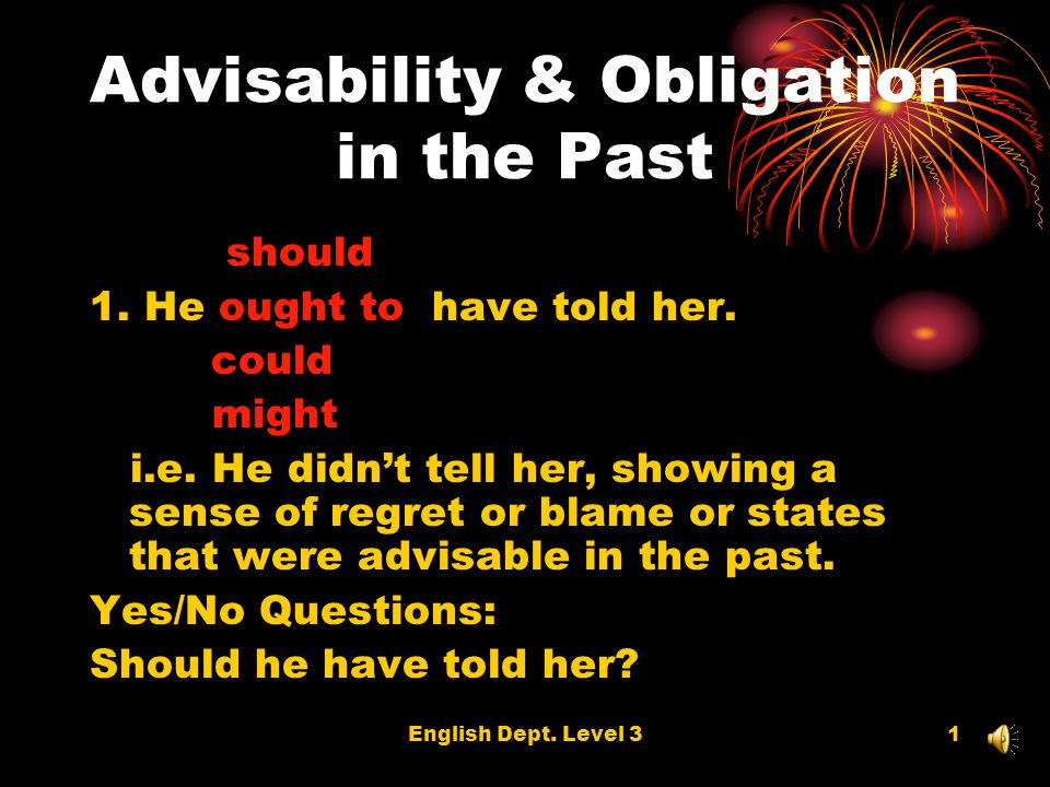 English Dept. Level 31 Advisability & Obligation in the Past should 1. He ought to have told her. could might i.e. He didnt tell her, showing a sense