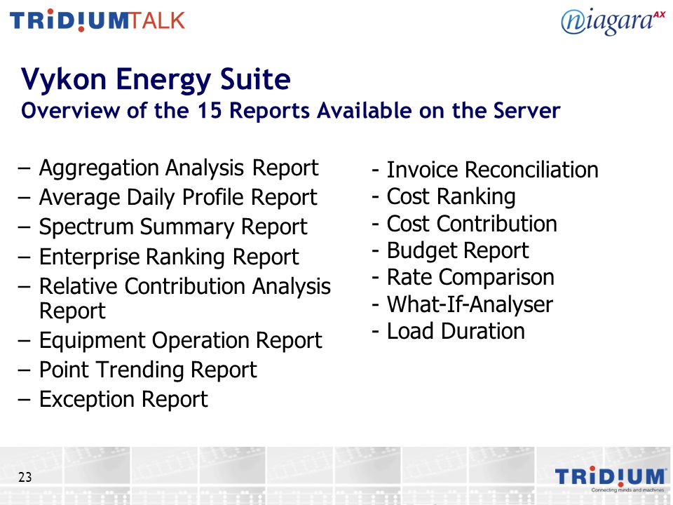 23 Vykon Energy Suite Overview of the 15 Reports Available on the Server –Aggregation Analysis Report –Average Daily Profile Report –Spectrum Summary