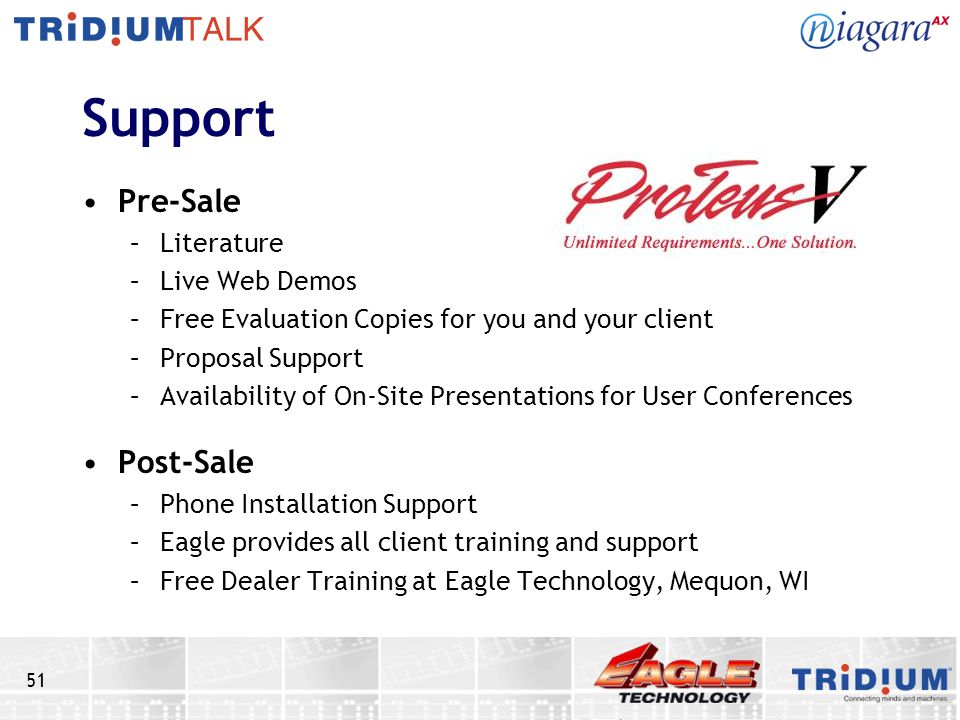 51 Support Pre-Sale –Literature –Live Web Demos –Free Evaluation Copies for you and your client –Proposal Support –Availability of On-Site Presentations for User Conferences Post-Sale –Phone Installation Support –Eagle provides all client training and support –Free Dealer Training at Eagle Technology, Mequon, WI