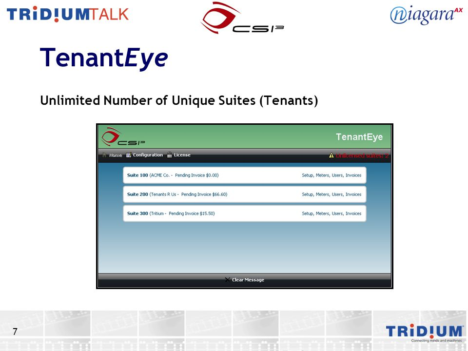 7 TenantEye Unlimited Number of Unique Suites (Tenants)