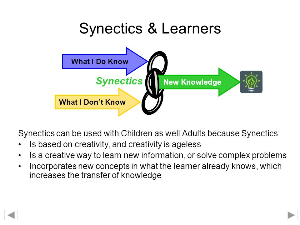 Synectics & Learners Synectics can be used with Children as well Adults because Synectics: Is based on creativity, and creativity is ageless Is a crea