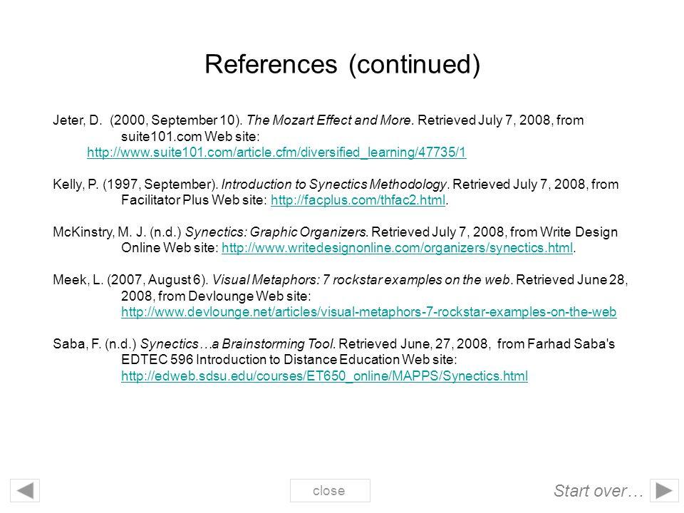 References (continued) Jeter, D.(2000, September 10).