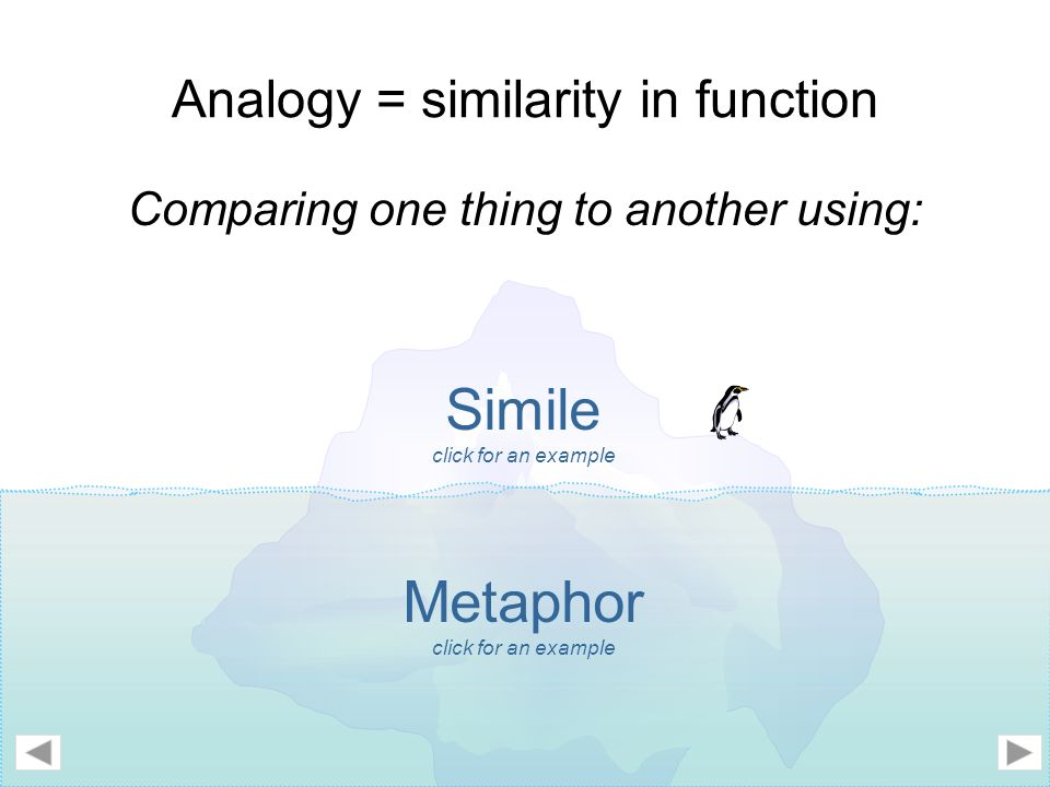 Analogy = similarity in function Comparing one thing to another using: Simile click for an example Metaphor click for an example