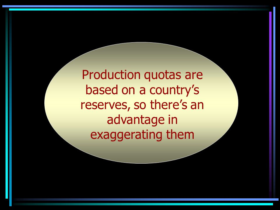 Production quotas are based on Production quotas are based on a countrys reserves, so theres an advantage in exaggerating them