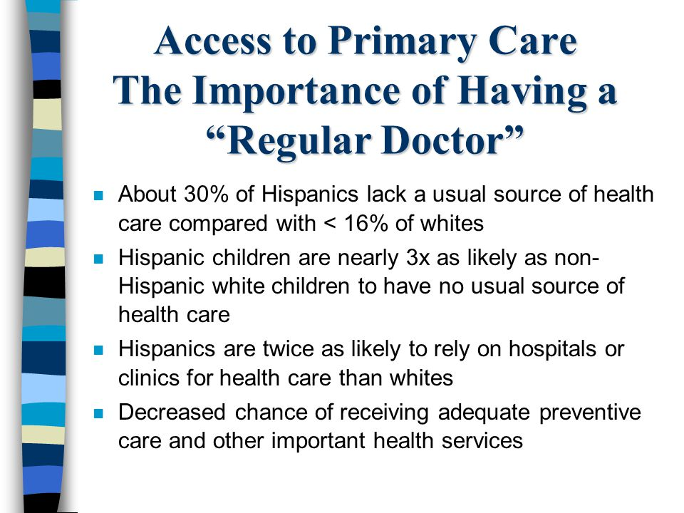 Access to Primary Care The Importance of Having a Regular Doctor n About 30% of Hispanics lack a usual source of health care compared with < 16% of wh