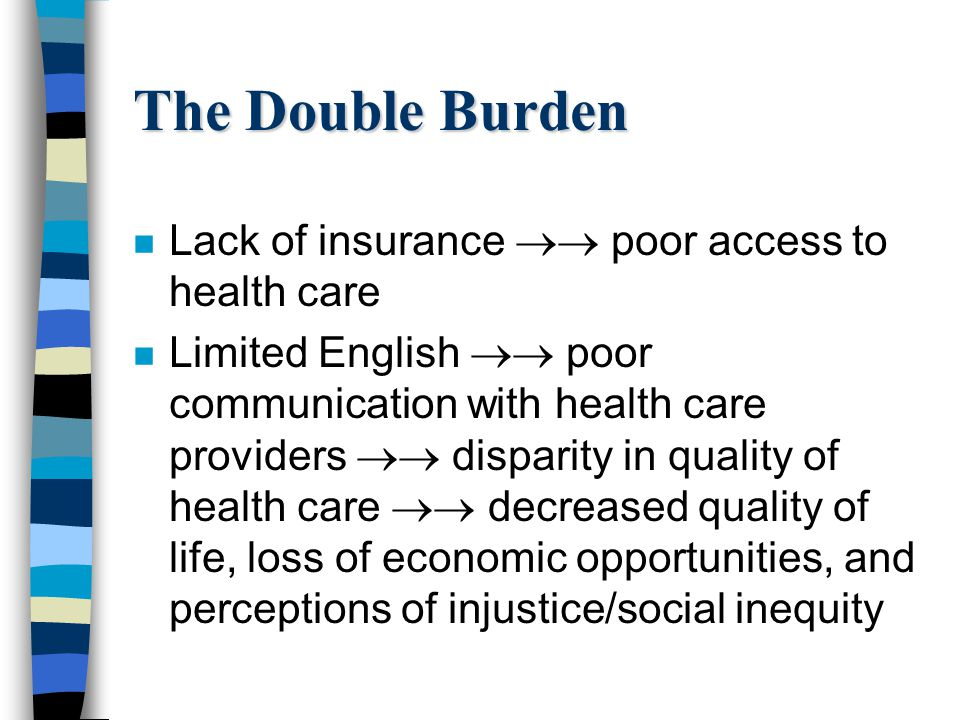 The Double Burden n Lack of insurance poor access to health care n Limited English poor communication with health care providers disparity in quality