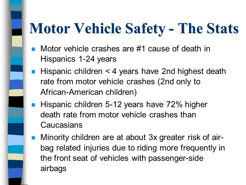 Motor Vehicle Safety - The Stats n Motor vehicle crashes are #1 cause of death in Hispanics 1-24 years n Hispanic children < 4 years have 2nd highest