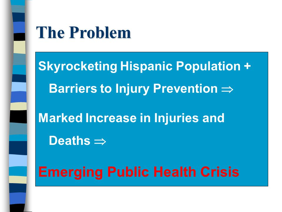 The Problem Skyrocketing Hispanic Population + Barriers to Injury Prevention Marked Increase in Injuries and Deaths Emerging Public Health Crisis