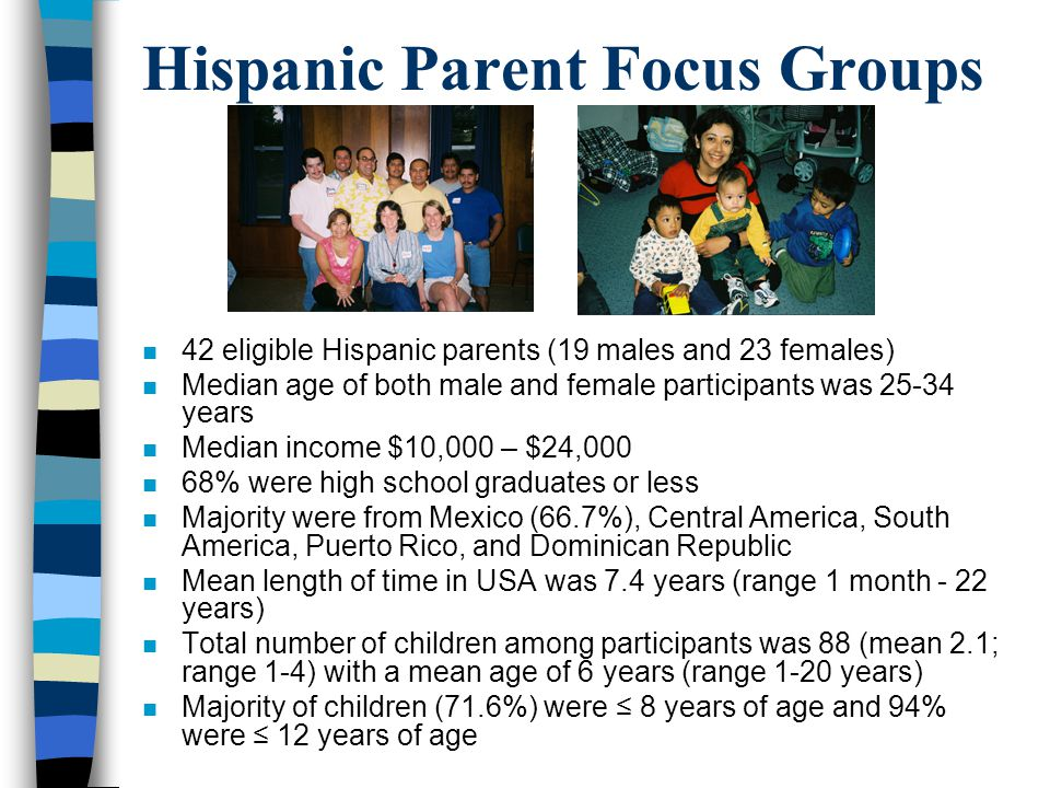 Hispanic Parent Focus Groups n 42 eligible Hispanic parents (19 males and 23 females) n Median age of both male and female participants was 25-34 year