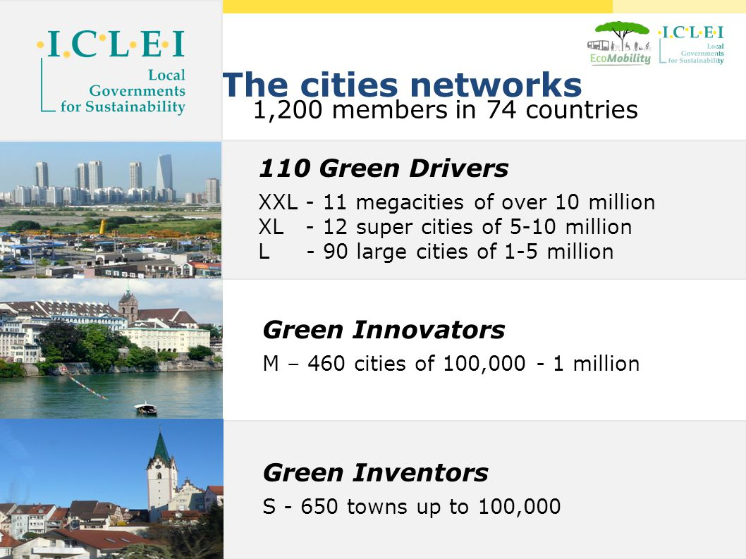 http://www.ecomobility.org The cities networks 1,200 members in 74 countries 110 Green Drivers XXL - 11 megacities of over 10 million XL - 12 super cities of 5-10 million L - 90 large cities of 1-5 million Green Innovators M – 460 cities of 100,000 - 1 million Green Inventors S - 650 towns up to 100,000