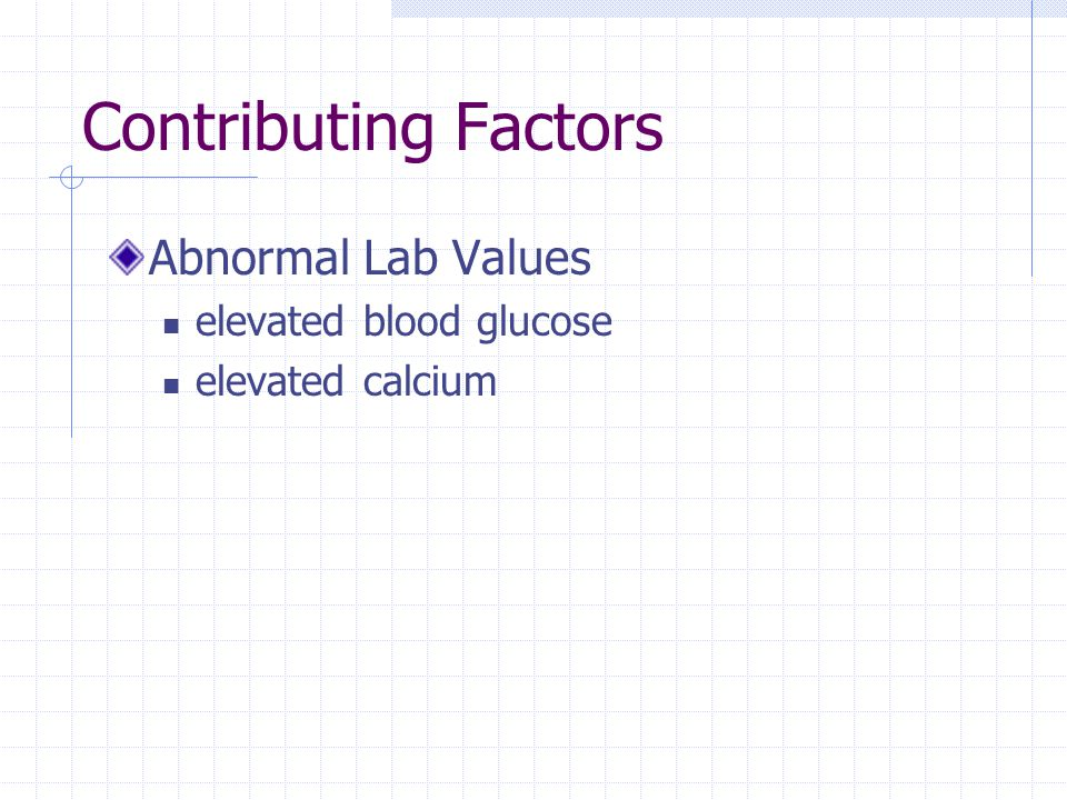 Contributing Factors Abnormal Lab Values elevated blood glucose elevated calcium