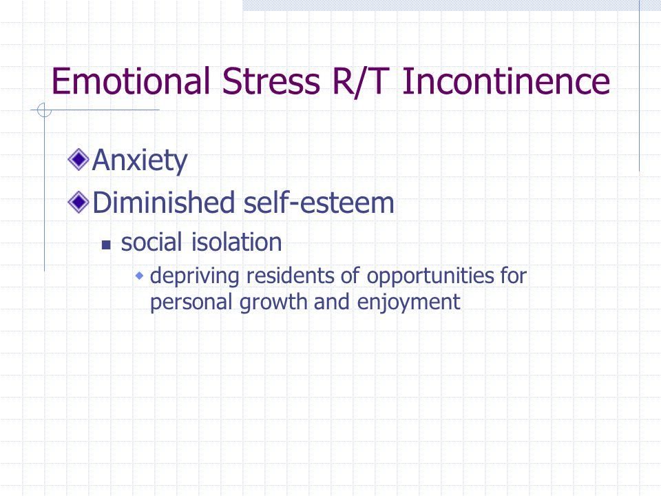 Emotional Stress R/T Incontinence Anxiety Diminished self-esteem social isolation depriving residents of opportunities for personal growth and enjoyme