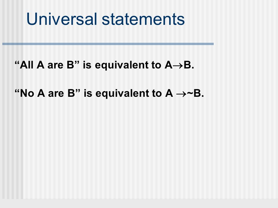 Universal statements All A are B is equivalent to A B. No A are B is equivalent to A ~B.