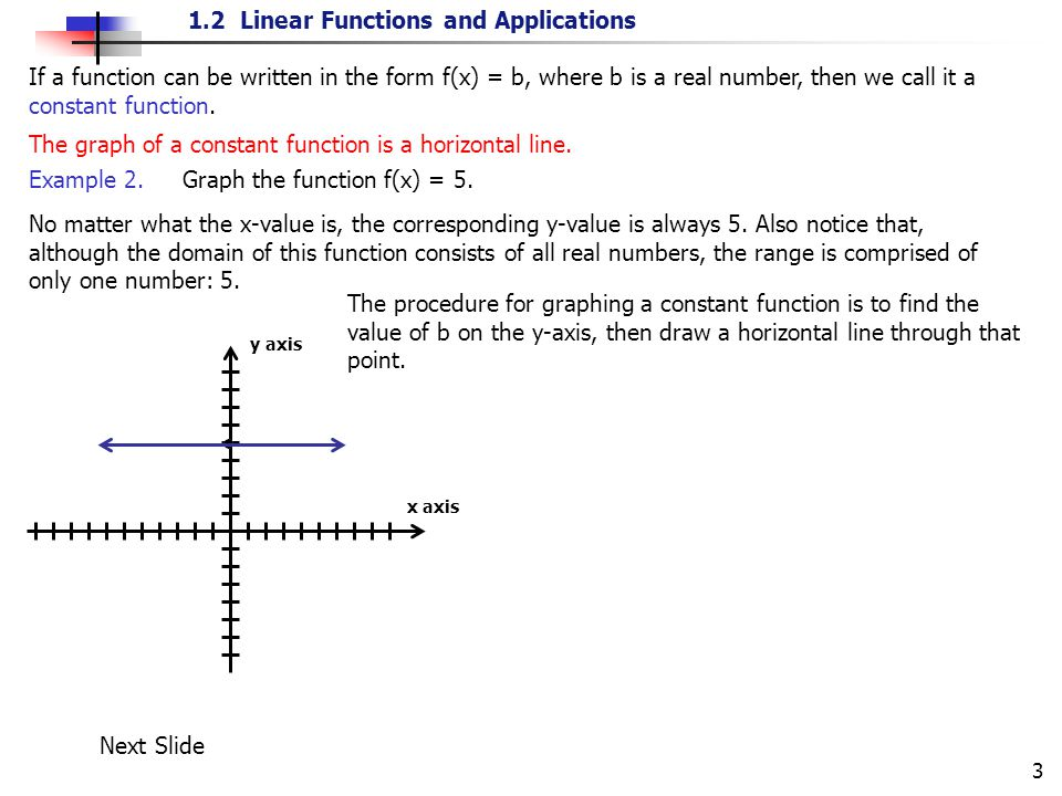 1.2 Linear Functions and Applications 3 If a function can be written in the form f(x) = b, where b is a real number, then we call it a constant functi