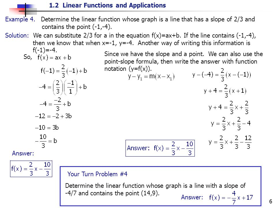 1.2 Linear Functions and Applications 6 Solution: We can substitute 2/3 for a in the equation f(x)=ax+b. If the line contains (-1,-4), then we know th