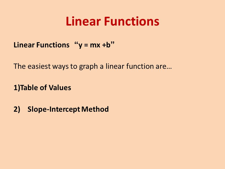Linear Functions Table of Values Method Graph 2x – 4y = 12 y = ½ x – 3 xy -4-5 -2-4 0-3 2-2 4 2x – 4y = 12 Domain: {x|x is all Real #s} Range: {y|y is all Real #s} Positive Slope