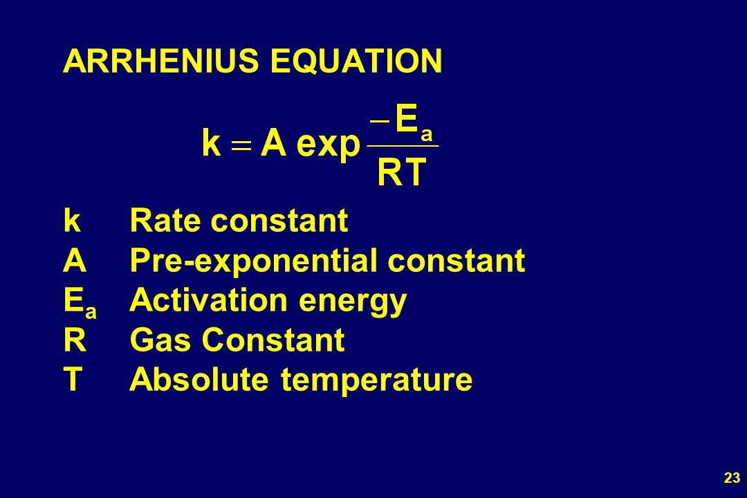 23 ARRHENIUS EQUATION kRate constant APre-exponential constant E a Activation energy RGas Constant TAbsolute temperature