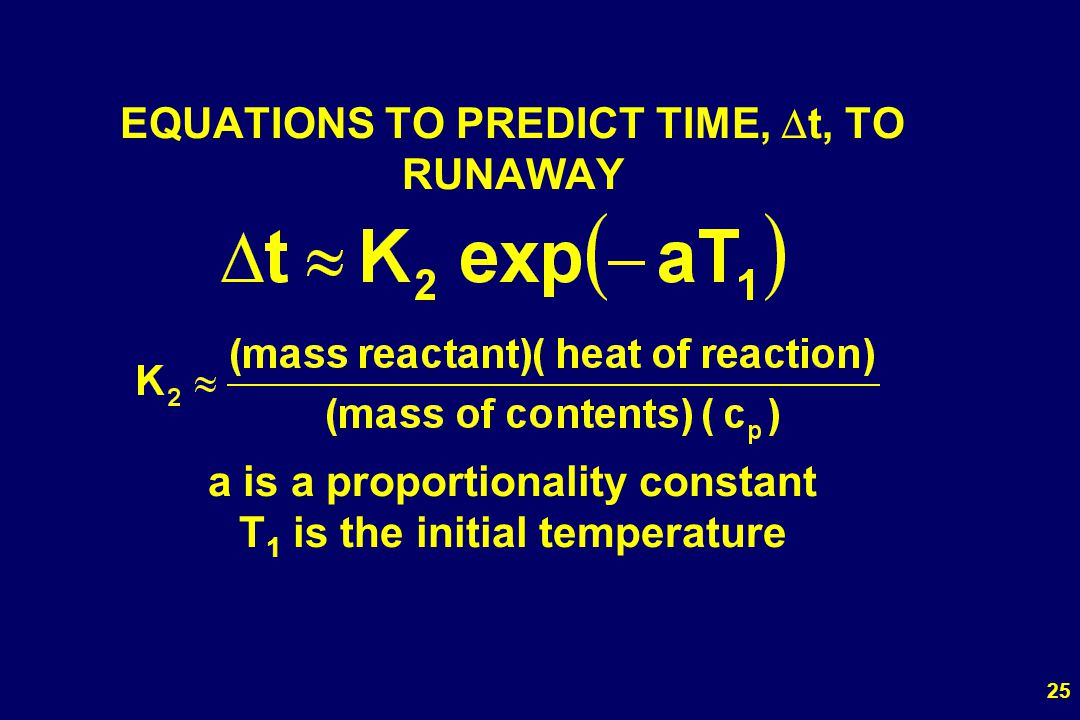 25 EQUATIONS TO PREDICT TIME, t, TO RUNAWAY a is a proportionality constant T 1 is the initial temperature