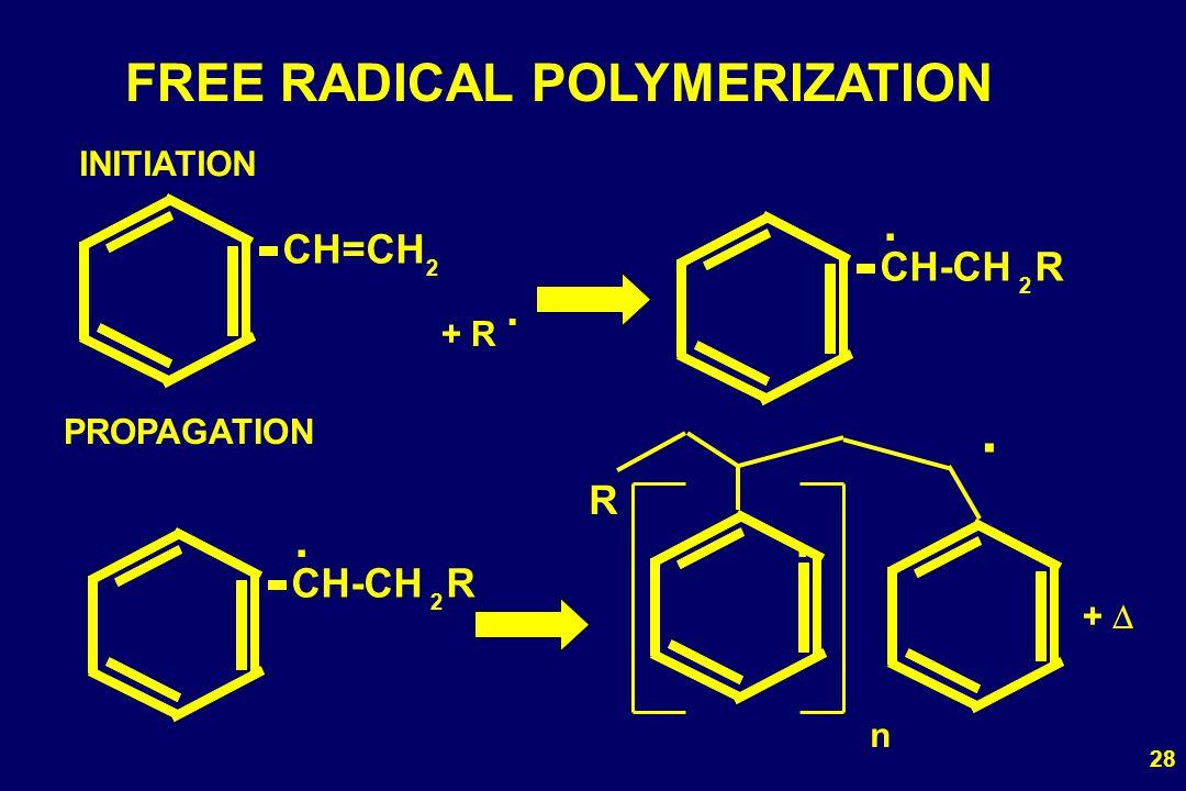 28 FREE RADICAL POLYMERIZATION CH=CH 2 + R. CH-CH R 2. INITIATION PROPAGATION R. CH-CH R 2.. n +